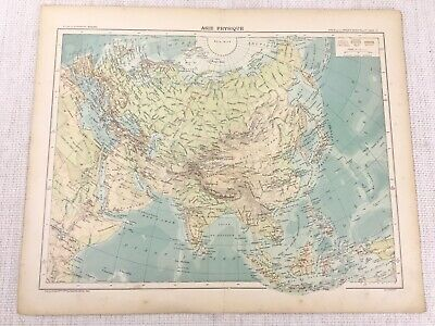 1898 French Map of ASIA Far East The Orient Physical 19th C Antique Original