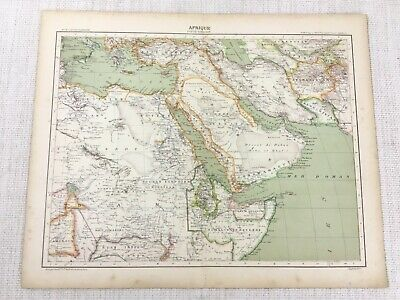 1898 French Map of Arabia East Africa Persia Egypt 19th C Antique Original