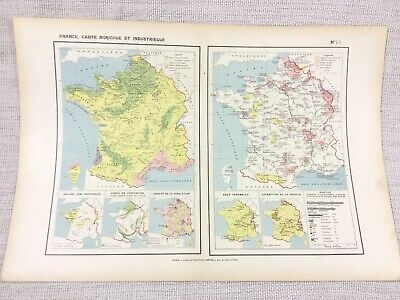 1888 Antique Map of France Commercial Industrial Population Agricultural FRENCH