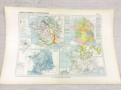 1888 Antique Map of France Physical Meteorological Agricultural FRENCH