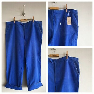 "Vintage French Molinel Cobalt Blue Cotton Chore Workwear Trousers Pants W42"" 44"""