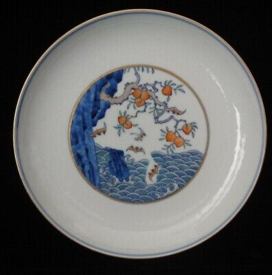 """Chinese Old Hand Painted Peaches Bats Porcelain Plate Marked """"YongZheng"""""""