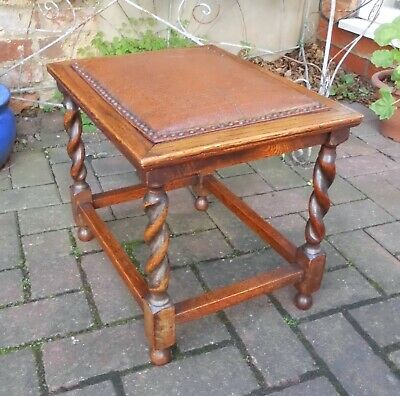 VINTAGE SOLID OAK STOOL/SMALL TABLE~BARLEY TWIST SUPPORTS~ORIGINAL REXINE~36cm