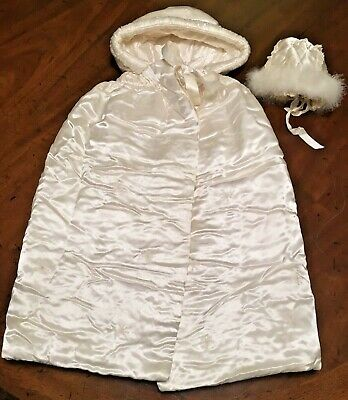 Victorian Satin Christening Baptism Cape And Bonnet Antique Exceptional Find