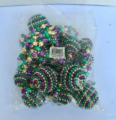 "Mardi Gras Bead Necklace Large Ball & 2 Small Ball Luxury 23"" Inch"