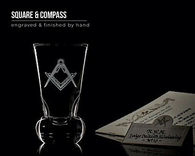 Engraved Masonic Square /& Compass Crystal Firing Glass Gold Personalised Wooden Base