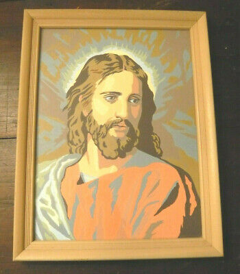 Vintage Large Good Shepherd Jesus Silkscreen Paint By Numbers Framed Art Design