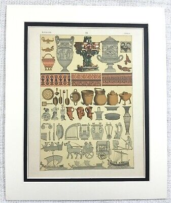 1895 Antique Print Ancient Greek Terracotta Pottery Ceramics Art Painting Greece