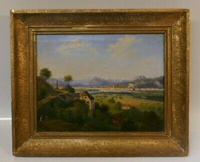 Antique 19th Century Dated 1842 Oil Painting Of Tranquil Landscape Scene