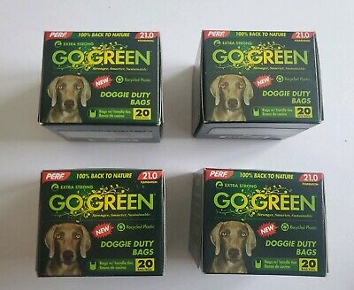 New 4 Perf Go Green Doggies Duty Waste Bags Lot. Four 20 Ct.boxes= 80 Bags Total