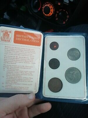 Britain's 1st First Decimal Coin Set Wallet 1/2p 1p 2p 5p 10p 1971 1968 rare