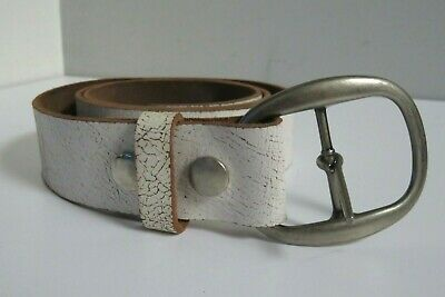 Robbie French Designs Unisex Made In Usa White Leather Popper Off Buckle Belt 36