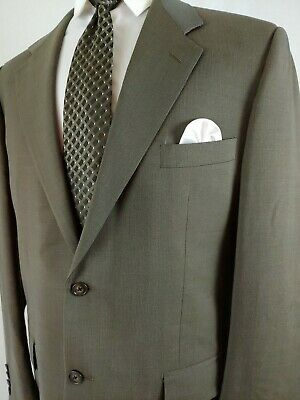 Vintage Corneliani Men's Virgin Wool Dark Olive Green 2 Piece Suit 42L 36x33