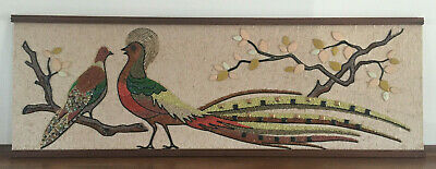 Mid Century Modern MCM Gravel Art Pheasants Wall Hanging Textured Picture 1960s