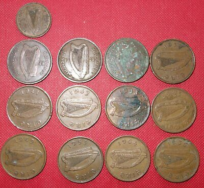 32x IRISH HALF PENNY & 2p Coins - From : 1928 to 2000 Ireland (Inc 1939)&Farthin