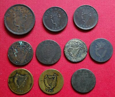 10x IRISH PENNY / Half PENNIES Coins - From : 1682 to 1822 Ireland