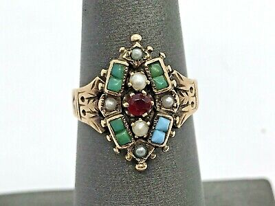 Antique Victorian 14K Gold Turquoise Seed Pearl Garnet Cluster Ring Size 6