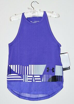 NWT Under Armour Big Girls Purple Loose Fit Mesh-Trimmed Tank Top sz XS