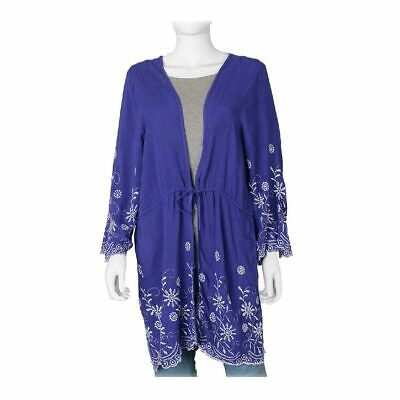 Royal Blue Floral Pattern Full Sleeves Embroidered Cardigan Blouse 100% Viscose