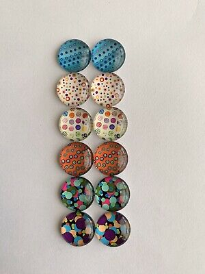 6 Pairs Of 12mm Glass Cabochons #636