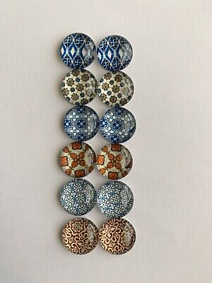 6 Pairs Of 12mm Glass Cabochons #815