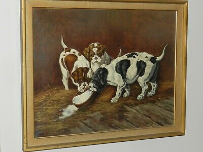 Vtg Antique Old Master Puppies Dog Oil On Canvas Art Painting English Pointer