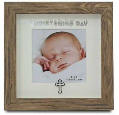 Christening Day Photo Frame - Timber Finish - Unique Quality Gift - New