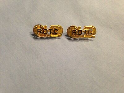US Army ROTC Officers Collar Brass Insignia Pins