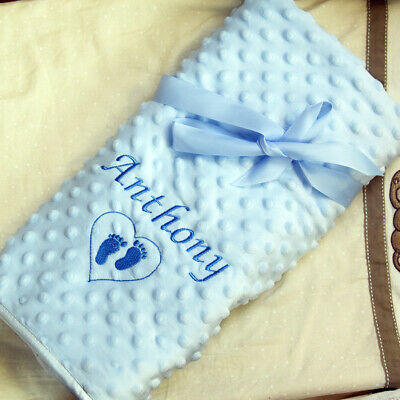 Personalised Baby Blanket Embroidered Soft Bubble Baby Boy Girl Gift Newborn