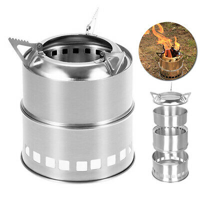 Portable Picnic BBQ Wood Alcohol Stove Folding Stainless Steel Camping Kitchen
