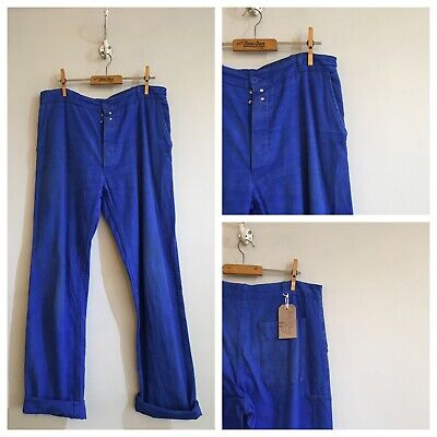"True Vintage French Cobalt Blue Cotton Chore Workwear Trousers Pants W32"" Small"