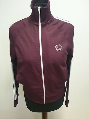 G483 Boys Fred Perry Burgundy Full Zip Tracksuit Jacket Age 11-12 Years