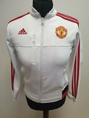 G484 Boys Adidas Manchester United White Red Tracksuit Jacket Age 11-12 Years