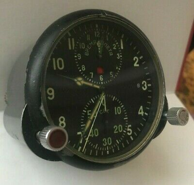 GREAT ! Russian Soviet USSR Military Air Force Aircraft Cockpit Clock AChS-1 !