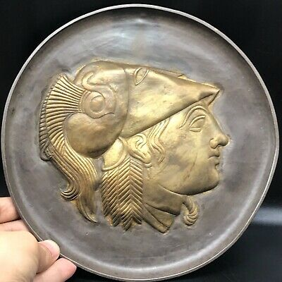 Ancient Greek hand beaten solid silver plate depicting gold head of Athena 172gr