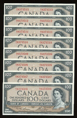 Lot of 8 Consecutive 1954 Bank of Canada $100 Banknotes - AU+ Conditions