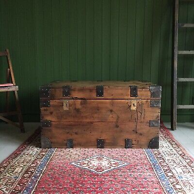 ANTIQUE PINE CHEST Victorian Campaign CHEST Old Rustic Wooden Storage TRUNK +Key