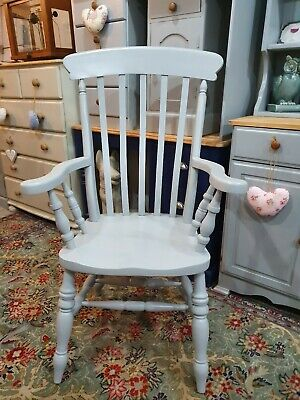 Solid pine Farmhouse Country Grandfather chair Painted in Manor House Gray...