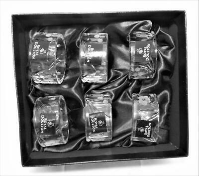 Six Royal Doulton Crystal Cut Glass Napkin Rings Chelsea Pattern Boxed Nice Gift