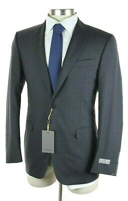 $2195 Canali 1934 Solid Charcoal Year Round Wool Two Button Suit Slim Fit 40 R