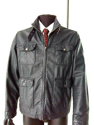 Mens Jacket Coat Real Leather Military Motorcycle  JEFF BANKS STVDIO Casual