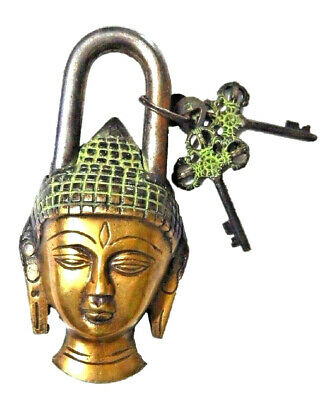 Buddha Shape Antique Vintage Style Handmade Solid Brass Padlock With Unique Keys
