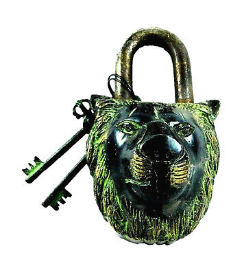 Tiger Shape Antique Vintage Style Handmade Brass Brass Padlock With Unique Keys