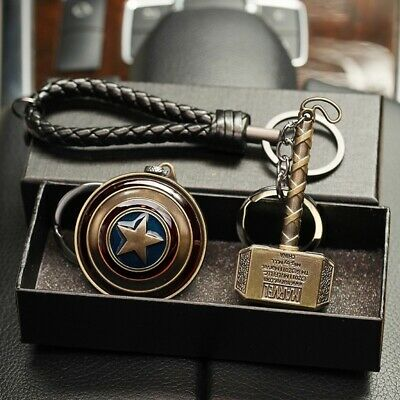 Marvel Keychain Set Captain America Shield Thor Mjolnir Gift