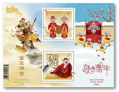 2020 Canada Year of Pig to Rat Transitional Souvenir Sheet Chinese New Year