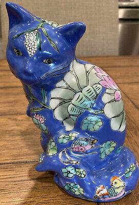 Vintage Chinese Lucky Cat Hand Painted Porcelain Figurine 7.75 Inch Tall