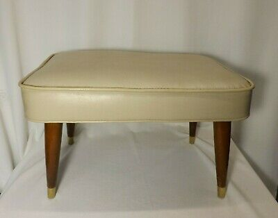 Mid-Century Modern Foot Stool Ottoman - Brass capped Wood Legs - GRAY Vinyl