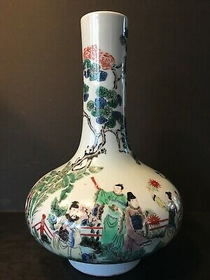Antique Rare Chinese Wucai Vase with Figurines, 17th/18th century, Kangxi period