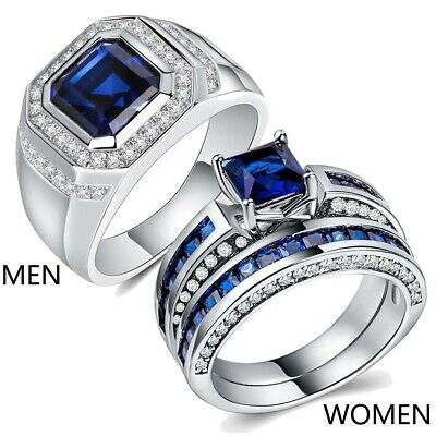 Couple Rings White Gold Filled Mens Ring Band Blue CZ Womens Wedding Ring Sets