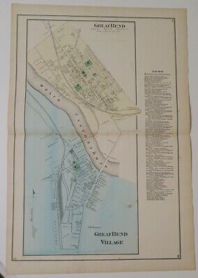 1872 Susquehanna County PA HAND-COLORD MAP OF GREAT BEND & VILLAGE,OWNERS,RIVER